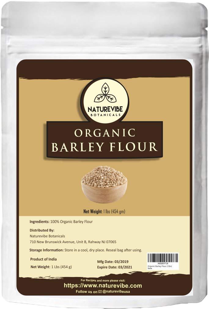 Naturevibe Botanicals Organic Barley Flour, 1lb   Non-GMO and Gluten Free   Rich Source of Fiber