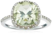 Jewelili Sterling Silver 10x10mm Cushion-Cut Green Amethyst with White Diamond Halo Cocktail Ring
