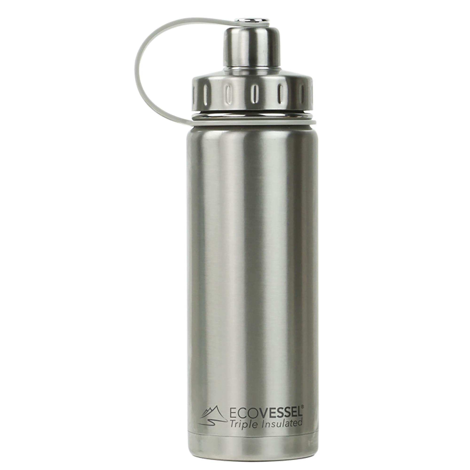EcoVessel BOULDER TriMax Vacuum Insulated Stainless Steel Water Bottle with Versatile Stainless Steel Top and Tea, Fruit, Ice Strainer - 20 ounce - Silver Express