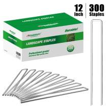 Amagabeli 12 Inch 8 Gauge Galvanized Landscape Staples 300 Pack Garden Stakes Heavy-Duty Sod Pins Anti-Rust Fence Stakes for Weed Barrier Fabric Ground Cover Dripper Irrigation Tubing Soaker