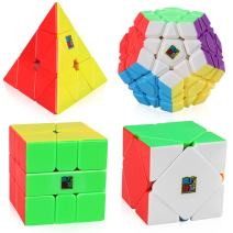 D-FantiX Speed Cube Bundle, Moyu Mofang Jiaoshi Megaminx Pyramid Skewb Square-1 Cube Stickerless Non-Cubic Cubing Classroom Gift Box