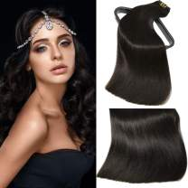 Aison 10 pcs 130g Clip in Human Hair Extensions 16 inch Natural Black Thicken Double Weft 100% Remy Human Hair Super Real 9A grade Quality Silky Straight For Full Head