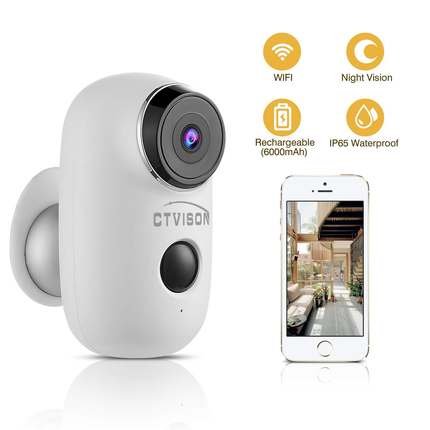 CTVISON Indoor/Outdoor Battery Powered Security Camera,Wireless Rechargeable 6000mAh Home Surveillance WIFI Cam,Support 2-Way Audio,Night Vision w/PIR Motion Sensor & SD Slot, CCTV Video House Monitor