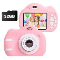 Kids Camera Toys for 3-9 Year Old Girls Gift Compact Cameras for Children Best Birthday Festival Gift for 4-8 Year Old Girl,Pink(32G SD Card Included)