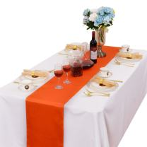 LOVWY 3 PCS 12 x 108 Inches Satin Table Runners for Wedding Party Engagement Event Birthday Graduation Banquet Decoration (3, Orange)