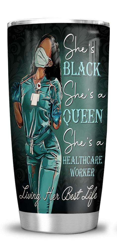 64HYDRO 20oz Black Nurse - Black Queen - Healthcare Worker Tumbler Cups with Lid, Double Wall Vacuum Sporty Thermos Insulated Travel Coffee Mug
