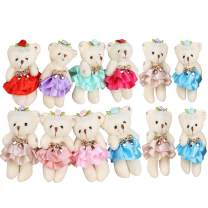 Sealive Stuffed Animals Plush Bears (1 Dozen), Mini Bear Stuffed Animal Bulk Assorted Toys for Birthday Cake Wedding Decorations Party Favors Supplies