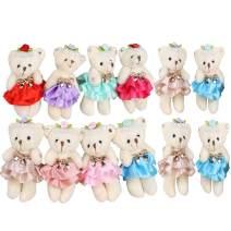 Sealive Stuffed Animals Plush Bears (1 Dozen), Mini Bear Stuffed Animal Bulk Assorted Toys for Birthday Cake Wedding Decorations Party Favors Supplies