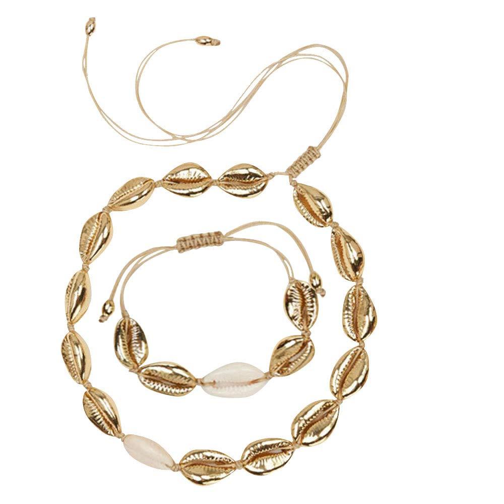 Hantaostyle Women's Natural Adjustable Cowrie Shell Necklace Handmade Woven Adjustable Boho Hawaii Sea Beach Choker for Girls