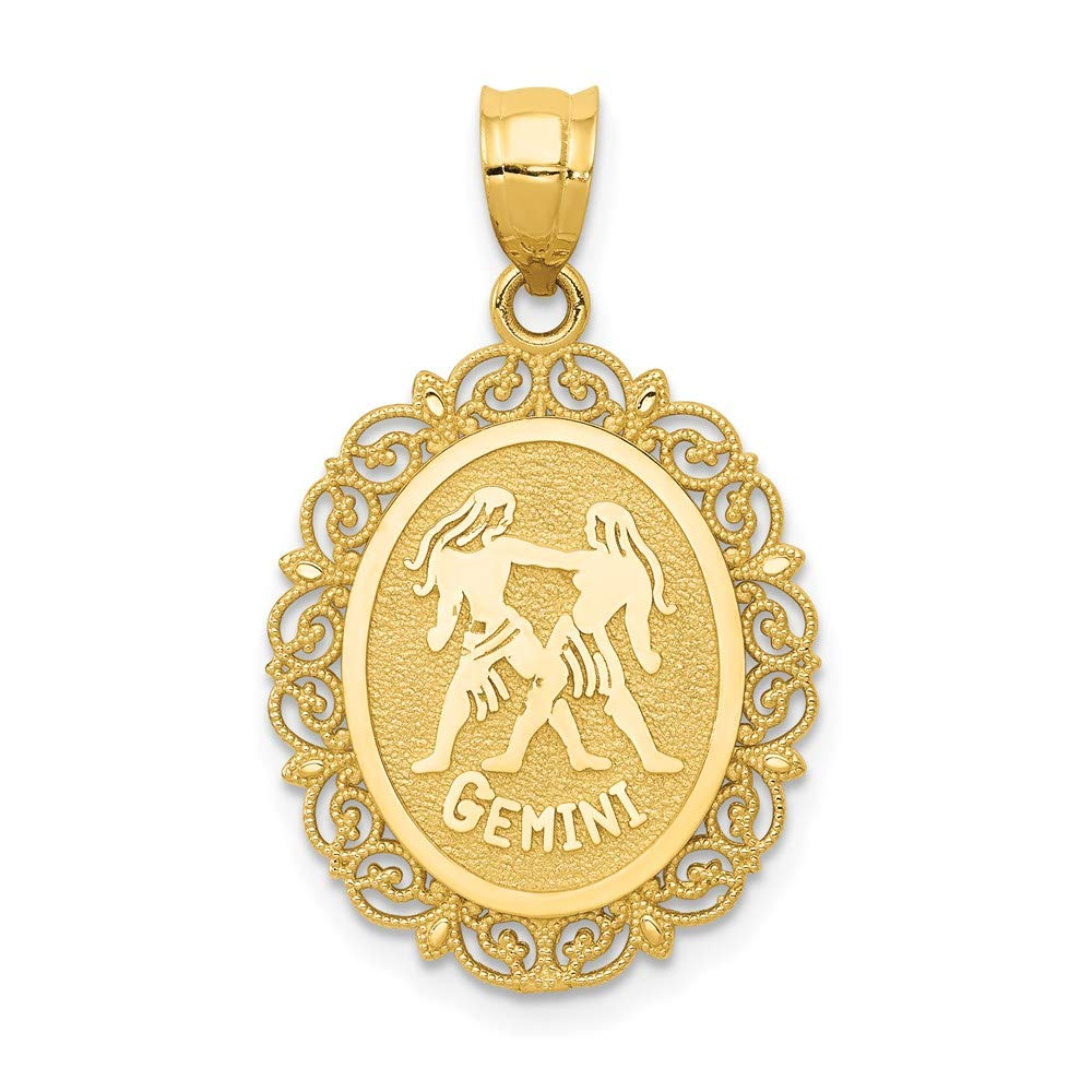 14k Yellow Gold Solid Gemini Zodiac Oval Pendant Charm Necklace Fine Jewelry For Women Gifts For Her
