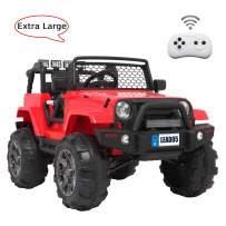VALUE BOX Luxury Large Ride On Truck, 12V Battery Electric Kids Toddler Motorized Vehicles Toy Car w/ Remote Control, 3 Speeds, Spring Suspension, Seat Belts, LED Lights and Realistic Horns (Red)