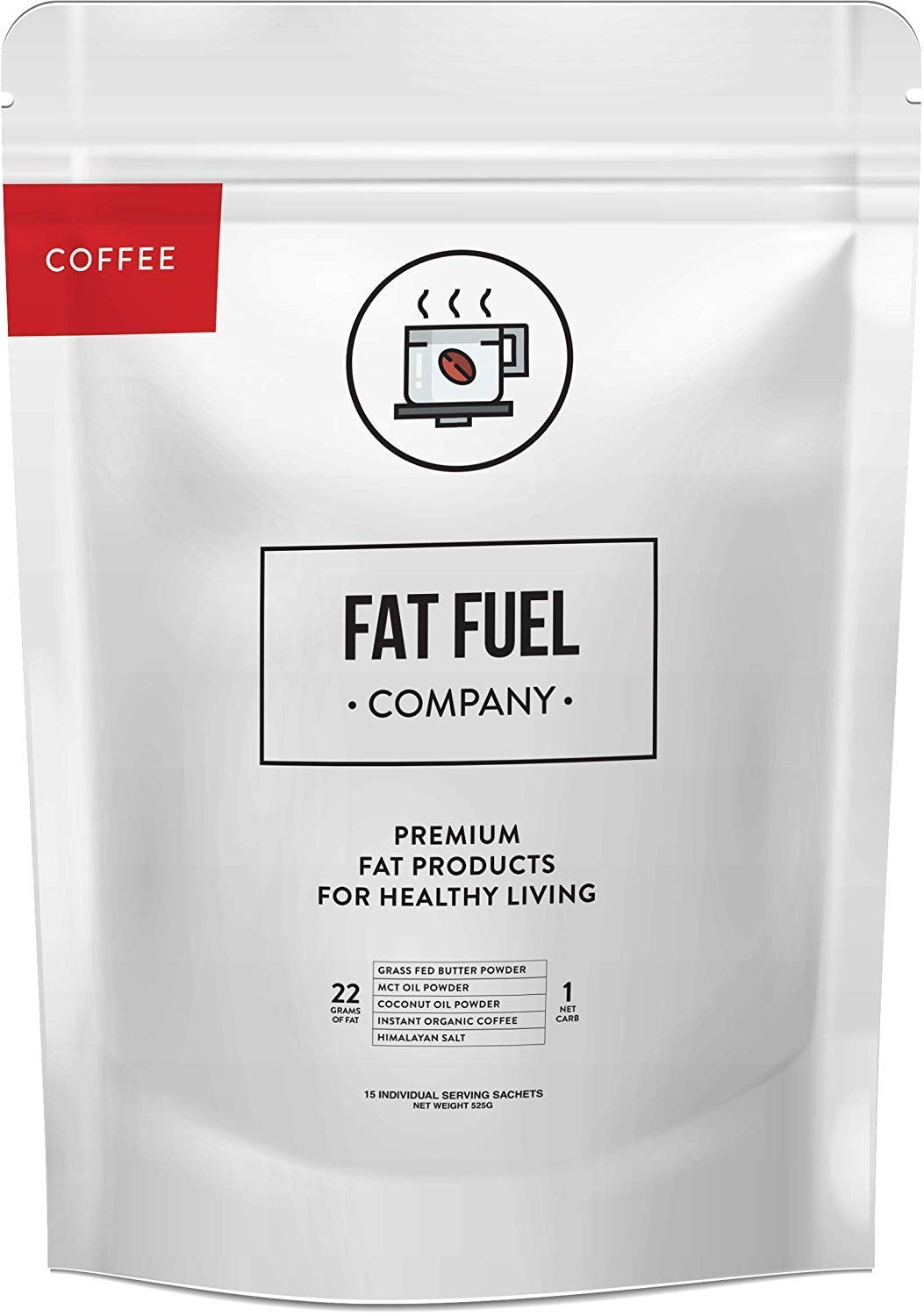 Instant Ketosis Coffee Organic   with Grass Fed Butter, MCT Oil, Coconut Oil Powder & Himalayan Salt   Brain & Energy Booster   Ready-Mix Powder for Ketosis   15 Individual Packets