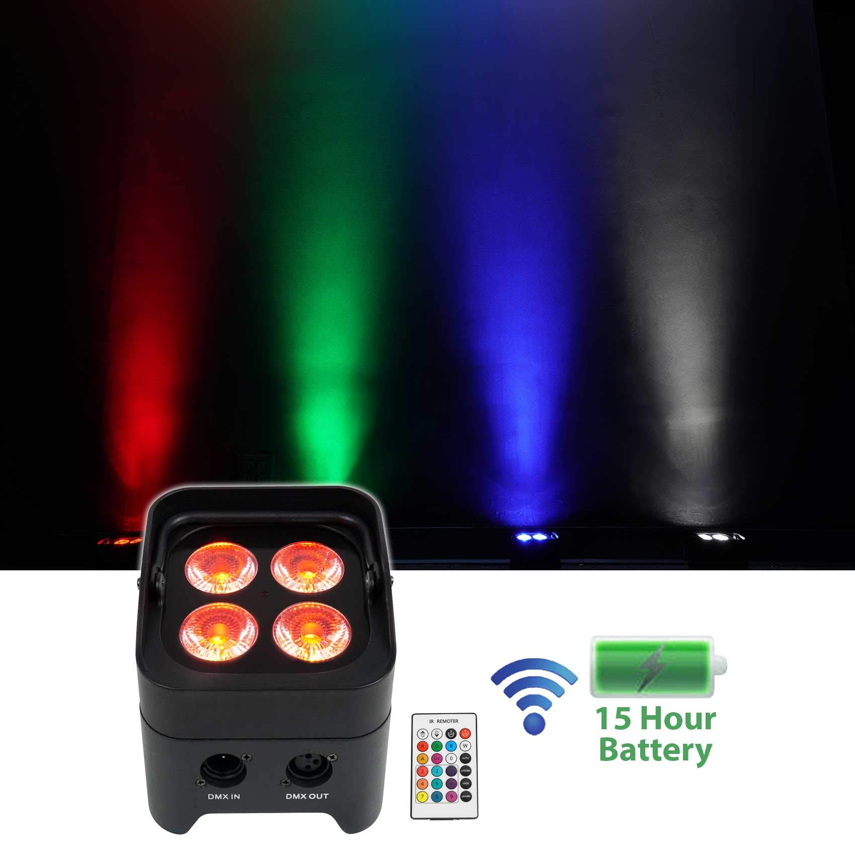 Rockville BEST PAR 50 Battery Powered DJ Wash Up-Light w/Wireless DMX+RGBWA+UV