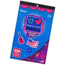 Hangable Patriotic Flip Pad Sticker Books – Ages 3+ – for Kids Crafts, Decoration, or Classroom Encouragement (Peace. Love. America, 2 Pack)