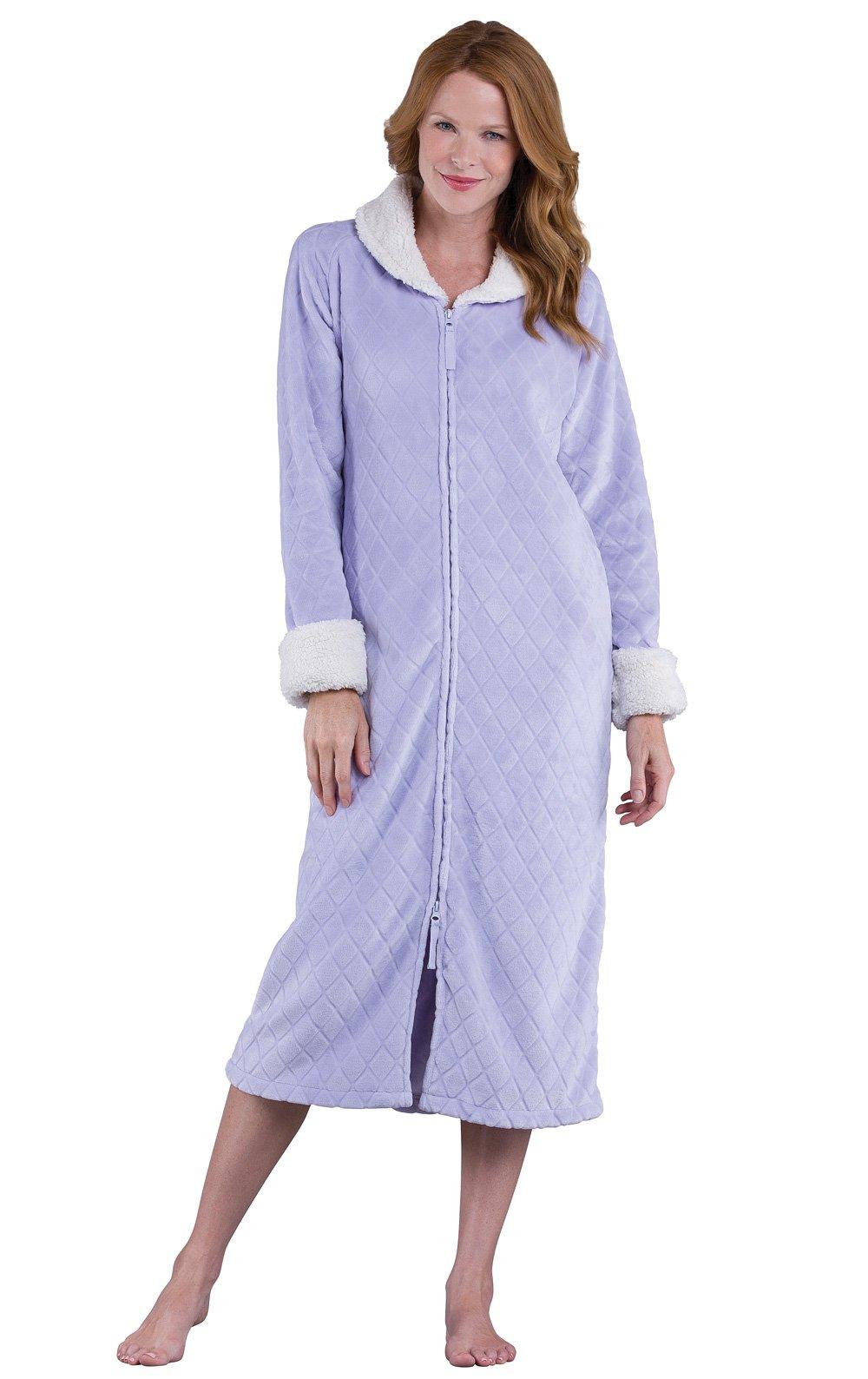 PajamaGram Fleece Robes for Women - Zip Up Robe