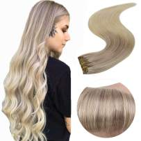 Easyouth Clip on Human Hair Extensions Double Weft Hair Extensions 14inch Color Ash Blonde Fading to Blonde Highlights with Platinum Blonde (70g 7pcs), Clip in Human Hair Real Clip in Hair