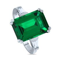 BERRICLE Rhodium Plated Sterling Silver Emerald Cut Cubic Zirconia CZ Statement Solitaire Cocktail Fashion Right Hand Ring