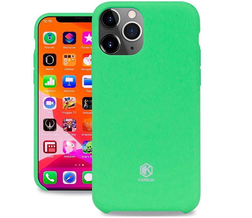 Evutec Karbon Silicone Case Compatible with iPhone 11 Pro Max, Ultra Thin & Protective Shockproof Drop Protection Soft Cover 6.5 Inch (Mint)