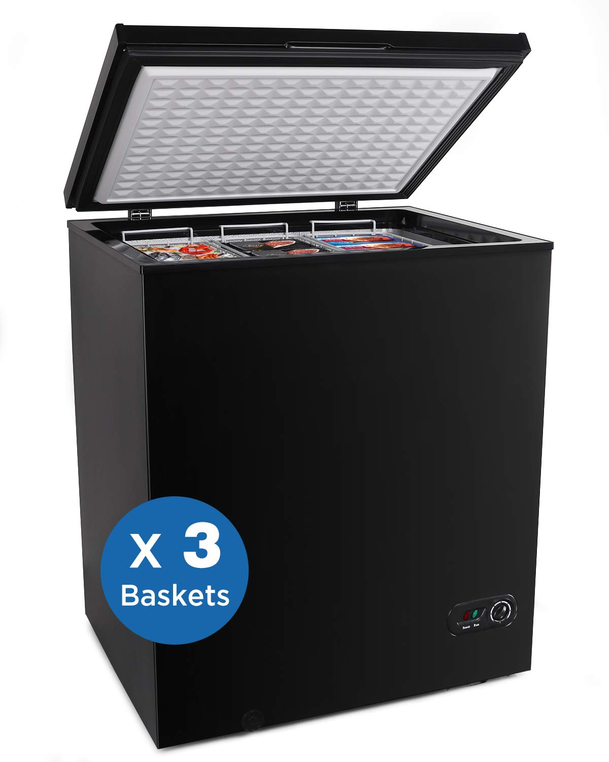 Northair Chest Freezer 5.0 Cubic Feet with 3 Removable Baskets Free-Standing Top Open Door Freezers -4℉ to 6.8℉ Adjustable Temperature/Front Defrost Water Drain/Energy-saving/UL Certified