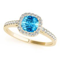 1.10 Ct. Ttw Diamond And Cushion Shaped Blue Topaz Ring in 10K Yellow Gold