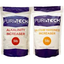 Puri Tech Chemicals 5 lb Calcium Hardness Increaser & 5 lb Alkalinity Increaser Kit for Swimming Pools & Spas Balance Chemical Levels Keep Surfaces & Water Clean