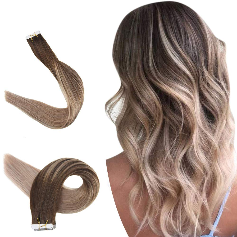 Easyouth Brown Tape in Hair Extensions Balayage 14inch Balayage Color Medium Brown Fading to Ash Blonde Seamless Skin Weft Straight Remy Hair Glue on 20 Pcs 40g/Pack Human Hairpiece