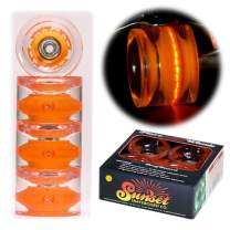 Sunset Skateboard Co. 65mm 78a LED Light-Up Longboard Wheels (4-Pack) with ABEC-9 Carbon Steel Bearings for Glow-in-The-Dark, All Ages & Skill Levels Skating Fun with No Batteries Required