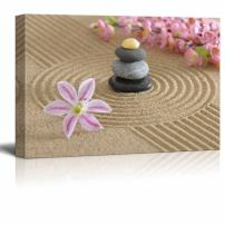 """wall26 - Canvas Prints Wall Art - Zen Garden in Sand with Flower and Zen Stone 