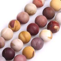 """GEM-Inside 12mm Natural Stone Multi-Color Mookaite Jasper Frosted Matte Unpolished Round Beads for Jewelry Making 15"""""""