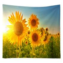 MENTAIQI Yellow Sunflowers Field Tapestry Wall Hanging Décor, Boho Sunshine Nature Landscape Tapestries Wall Art Decor Hippie Bedspread for Dorm Bedroom Living Room