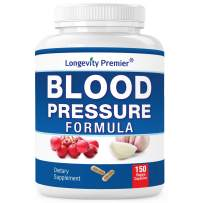 Longevity Blood Pressure Formula [150 Capsules] -Scientifically formulated with 12+ Natural Herbs. Best Blood Pressure Supplement