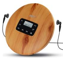 HOTT Portable CD Player Personal Small Walkman CD Disc Player with Stereo Earphones, Electronic Anti-Skip Anti-Shock Protection Wood Grain
