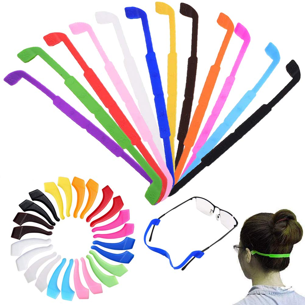 CKANDAY 12 Pack Anti Slip Kids/Adult Eyeglasses Straps with 12 Pair Ear Grip Hooks, Safety Glass Holders Eyewear Retainer for Sports Men Women Eye Protection -12 Colors