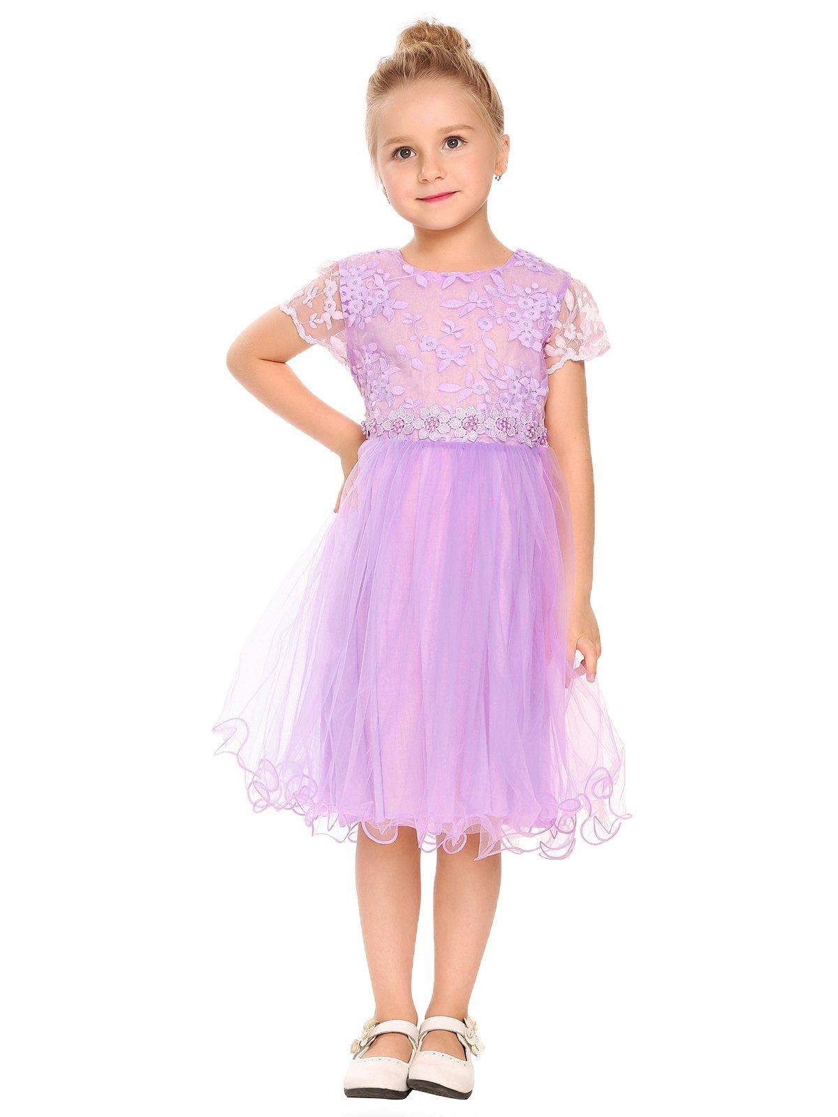 Arshiner Girls Lace Dress Princess Party Tutu Dresses Violet 130