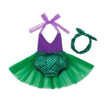 Mulfei Little Girls Tutu Dress Swimmable Mermaid Princess Bikini Swimsuits Halter Swimwear Set with Headband