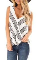 Ausun Women's Summer Sleeveless V Neck Top Loose Fit Casual Wrap Tops T Shirts Blouses