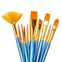 SEEFOUN 10 pcs Professional Oil Paint Brush Set, Anti-Shedding Nylon Hair for Acrylic, Oil, Watercolor and Gouache, Nice Gift for Artists, Adults & Kids