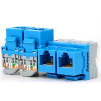 AMPCOM 5-Pack CAT5e RJ45 Tool-Less Keystone Jack, No Punch Down Tool Required UTP Module Connector Blue