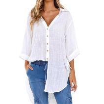 Women Loose Button Long Sleeve Short Sleeve Shirt Dress Cotton Linen Blouse Casual Solid Top Plus Size S-5XL