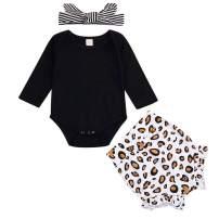 Newborn Infant Baby Girls Black Long Sleeve Romper Top Leopard Print Ruffled Shorts Pants Headband 3Pcs Outfit