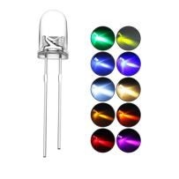 DiCUNO 200pcs 5mm LED Light Emitting Diodes 2pin Assorted Diffused Kit Box Color UV White Red Yellow Green Blue Warm White Pink Orange Chartreuse (10 Colors x 20pcs)