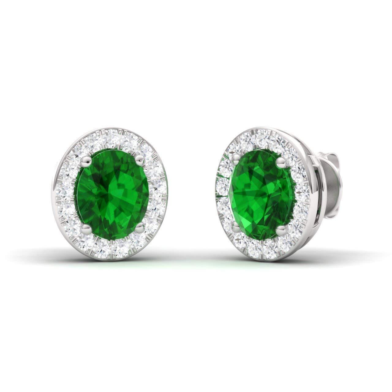 Diamondere Natural and Certified Oval Cut Gemstone Halo Diamond Earrings in 14K White Gold | 0.96 Carat Earrings for Women