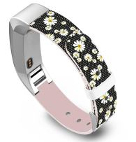 Band for Fitbit Alta - Leather Strap Replacement Compatible for Fitbit Alta/Alta HR Small & Large - White Chrysanthemum