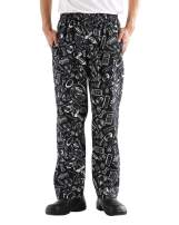 Men's and Women's Baggy Printed Chef Pants Kitchen Uniforms with Elastic Waist Floral Restaurant Work Pants Style1 XXL