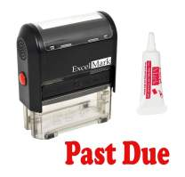 Past Due Self Inking Rubber Stamp - Red Ink (Stamp Plus 5cc Refill Ink)