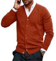 Hestenve Mens Cotton Button Down Cardigan V Neck Basic Designed Knitted Sweater