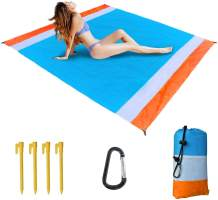 """Beach Blanket,83"""" X 77""""Beach Blanket Waterproof Sandproof for 4-7 Adults,Multi-Function Oversized Lightweight Beach Blankets,Portable Picnic Blankets,Packable Sand Proof Mat for Travel,Camping,Hiking"""