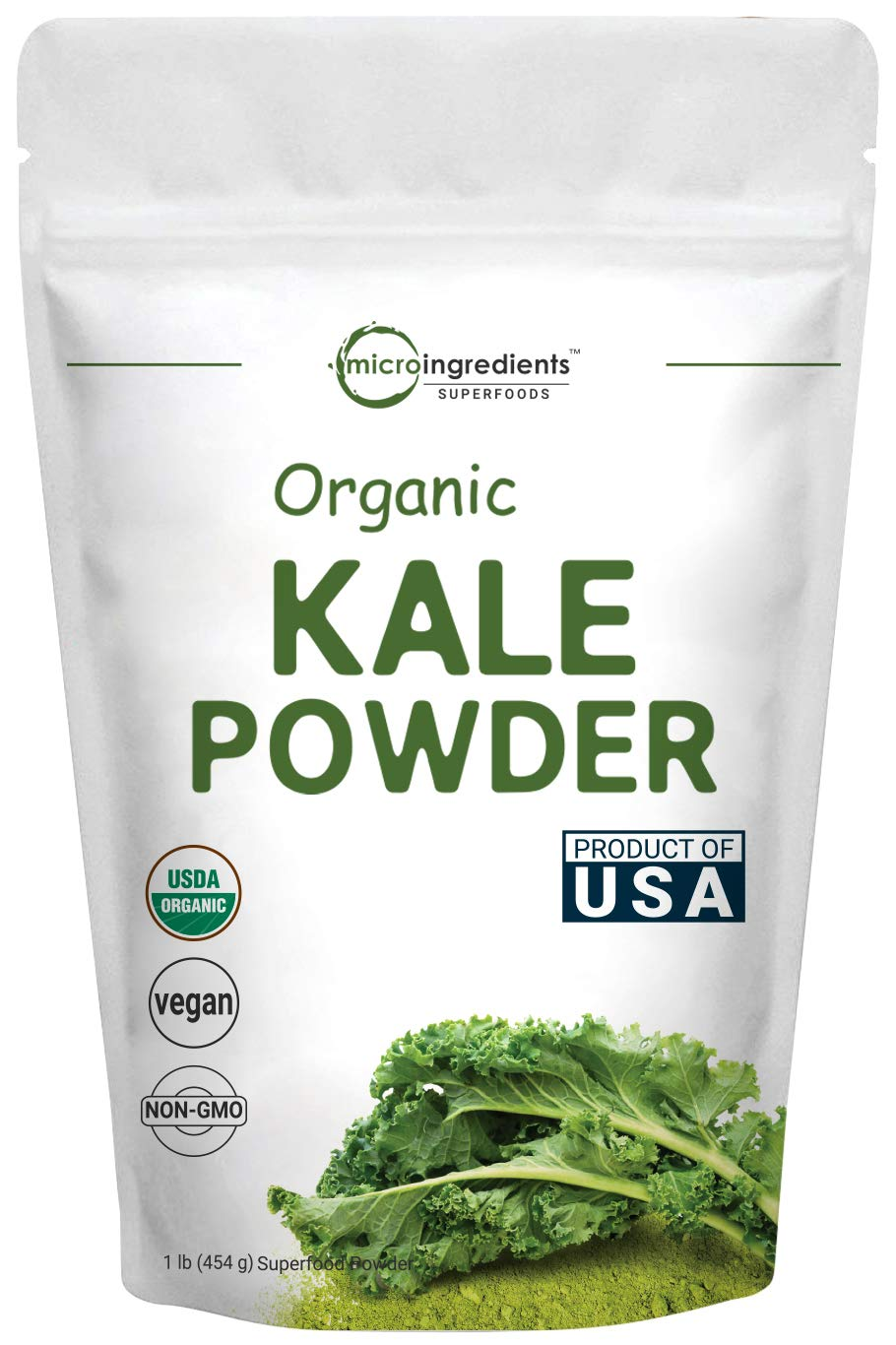 Sustainably US Grown, Kale Powder Organic, 1 Pound (90 Servings), Contains Immune Vitamin C to Support Immune System, Green Superfood for Overall and Liver Health, No GMOs and Vegan Friendly