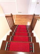 "Stair Treads Carpet Rubber Backing – Stair Runners for Steps– Rubber Back Stair Rugs – Pet Dog Carpet for Stairs - Stairway Carpet Rug – Set of 7 Emy Red (8.5"" x 26"")"