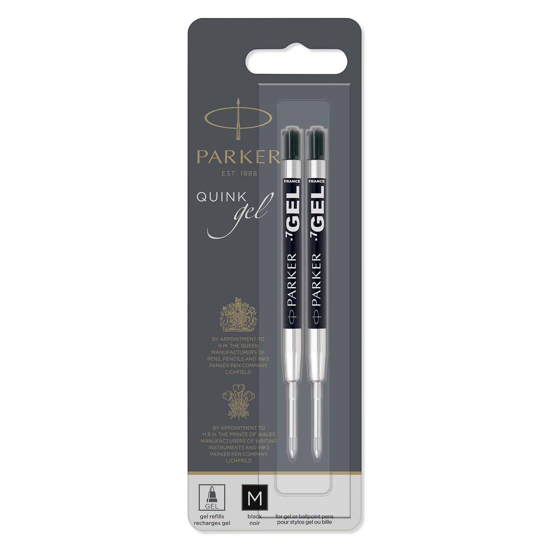 Parker Gel Ball Pen Refill Medium Nib, Black, Pack of 2